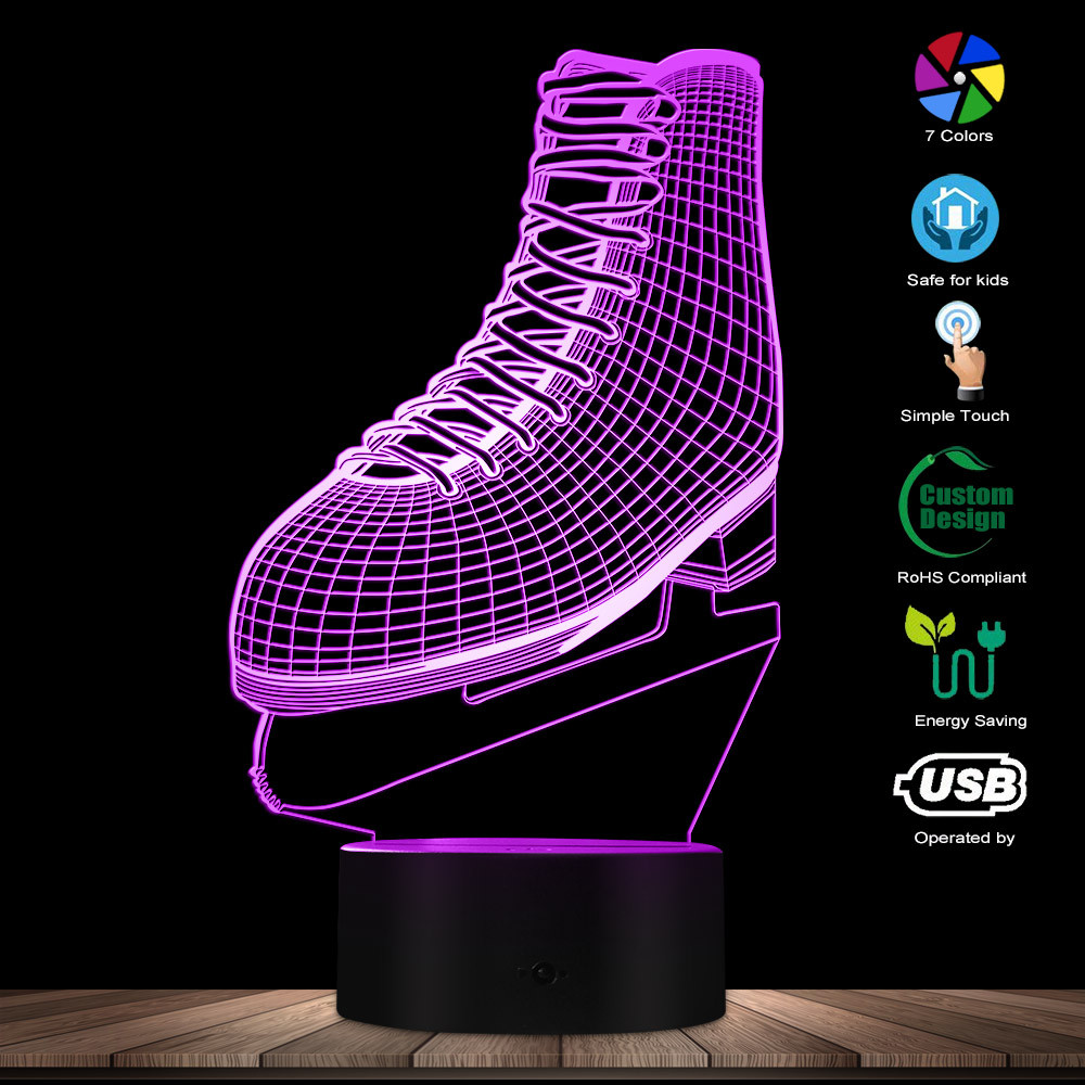 3D Ice Skating LED Night Light Ice Skate Shoes Shape Acrylic Light Color Changing Atmosphere Table Lamp Ice Skater Lover Gift