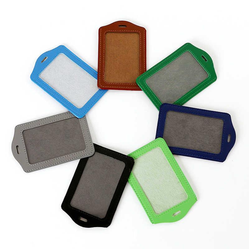 2 uds Pu cuero titular de la tarjeta funda de credencial de identificación tarjeta de crédito tarjeta bancaria almacenamiento titular certificado Set Oficina papelería Color aleatorio