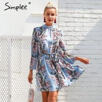 Simplee Backless Lace Up Beach Summer Dress Women Flare Sleeve Floral Print Casual Dress Chiffon Short