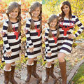 Family Matching Outfits Women Toddler Girls Deer Dress Mother Daughter Dresses Striped