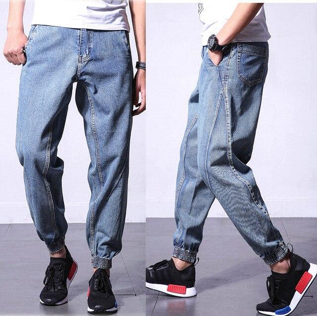 4aa41340120 Japanese vintage mens jogger jeans harem homme Cuffed Blue mens denim  joggers 5xl