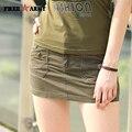Qualidade da marca de Verão Mulheres Shorts Saias de Algodão Verde Militar Do Exército Calções Femininos Casuais Saias Shorts Frete Grátis Gk-9515A