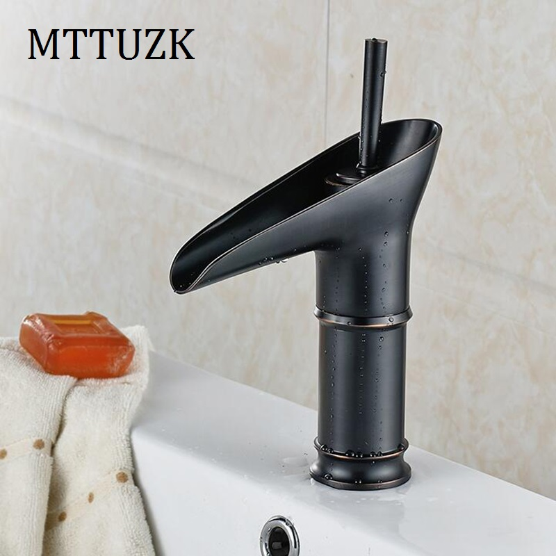 MTTUZK brass oil bubbed bronze  bathroom waterfall faucet wine glass faucet hot and cold mixer tap golden white basin faucet MTTUZK brass oil bubbed bronze  bathroom waterfall faucet wine glass faucet hot and cold mixer tap golden white basin faucet