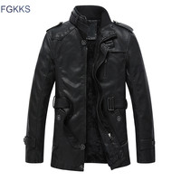 FGKKS 2018 New Warm Design Leather Jacket Men With Washed Motorcycle Standing Collar Jaqueta De Couro Leather Jackets Coat