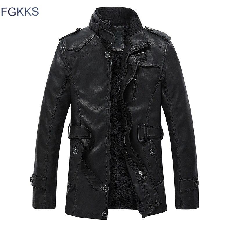 FGKKS 2018 Nouveau Design Chaud Veste En Cuir Hommes Avec Lavé Moto Debout Col Jaqueta De Couroie Vestes En Cuir Manteau