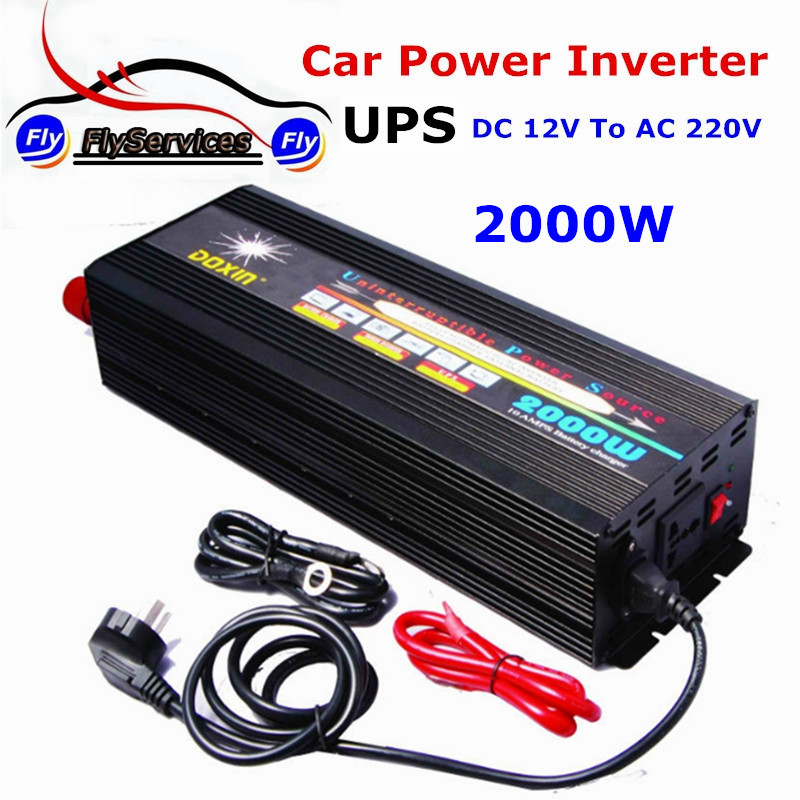 Professional Car Power Inverter With UPS 2000W 12V 220V Modified Sine Wave DC To AC Power Inverter With 15A Charger Battery mkm2000 242g c modified sine wave professional dc ac 2000 watt power inverter 24v to 220v electrical inverters with charger