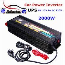 Профессиональные автомобиля Мощность инвертор ИБП 2000 Вт 12 В 220 В Модифицированная синусоида постоянного тока в AC Мощность инвертор С 15A Зарядное устройство Батарея