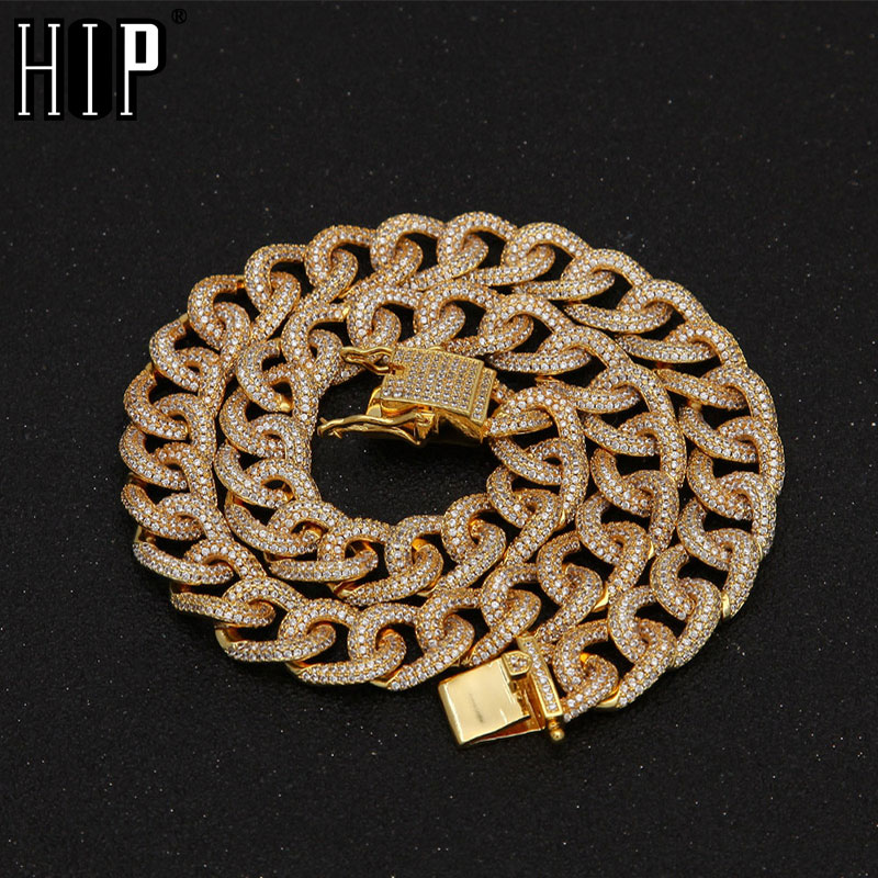 Hip Hop 13MM Micro Zirconia Pave AAA Cubic Round Cuban Miami Gold Silver CZ Stone Link Chain Necklace For Men Rapper Jewelry