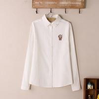 2015 herfst en winter vrouwen casual lange mouwen shirt indian cartoon geborduurde wit shirt oxford shirt