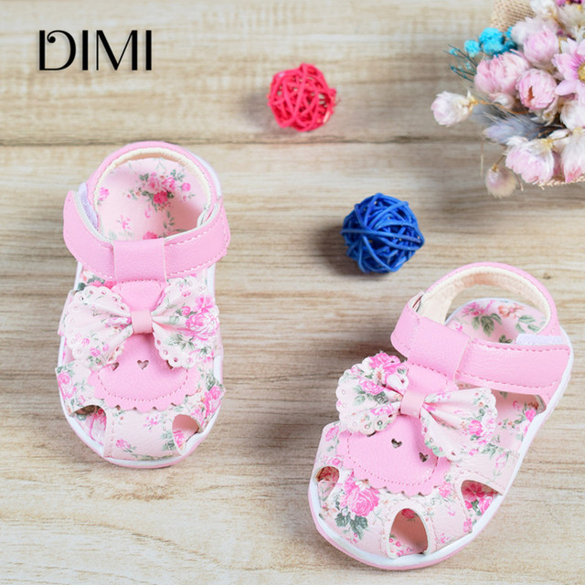 73a08385dd2 2018 Baby Sandals Newborn Baby Girl Sandals Summer Flower Baby Shoes  Anti-Slip Closed Toe Leather Fashion Kids Sandals For Girls