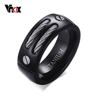 VNOX 8MM Titanium Rings For Men Wedding Bands Black Plated Pure Titanium Men Rings WIA Design