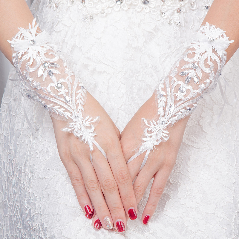 Girls White Gloves219 New Finger Ivory Lace Pearl Wedding Gloves Long Evening Gloves Stock Bridal Gloves Wedding Accessories