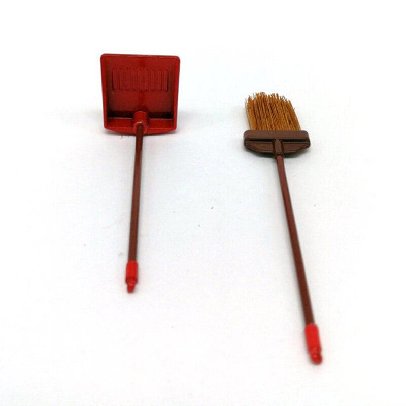 1:12 dollhouse miniature red metal long handles broom and dust pan set NMCASJCA