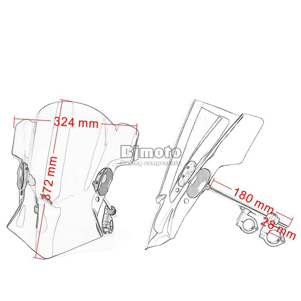 Universal Motorcycle Windshield Street Bike Windscreen For 22mm 25mm 28mm Handlebar Motorbikes (1)