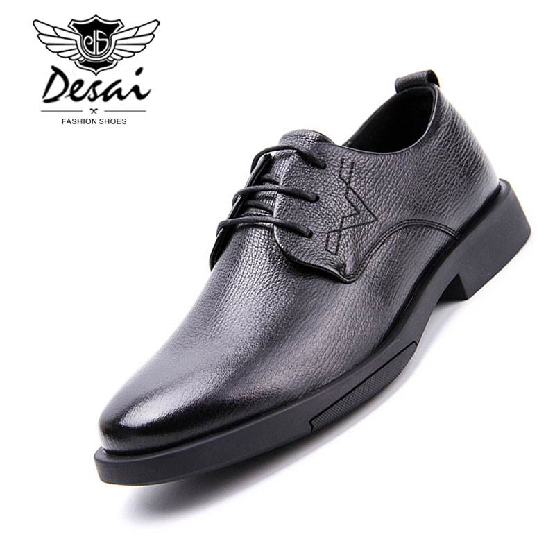 Handmade Genuine Leather Men's Business Dress Shoes Formal Casual Shark Embossed Shoes Men Wedding Black England Oxfords Male faux leather embossed panel formal shoes page 1
