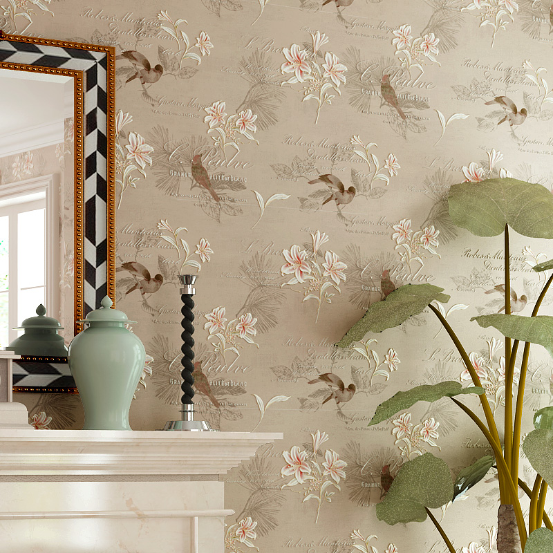 American Style Rustic Wallpaper Non-woven Vintage Floral 4D Wall Paper Roll Living Room Bedroom Wallpapers Birds Wall Decals 3D beibehang pure non woven wallpaper fresh korean style small floral wall paper bedroom living room children s room papier peint