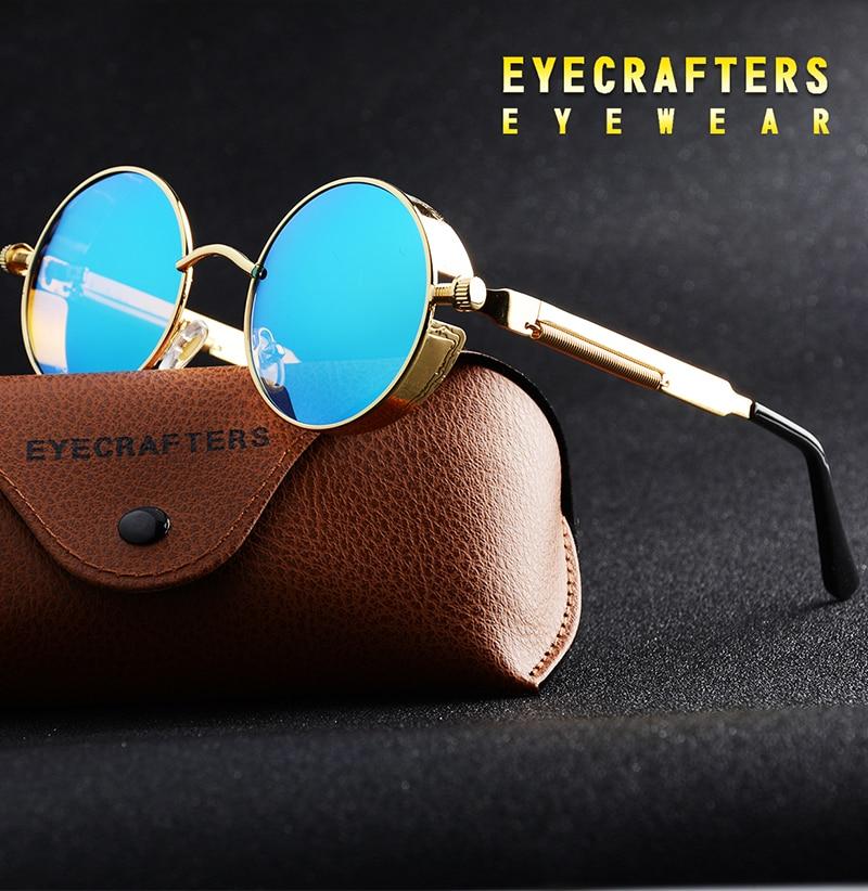 Polarized Sunglasses Gothic Steampunk Sunglasses نظارات شمسية للرجال وللسيدات باطار دائري معدني وعدسات بلورايزد 1