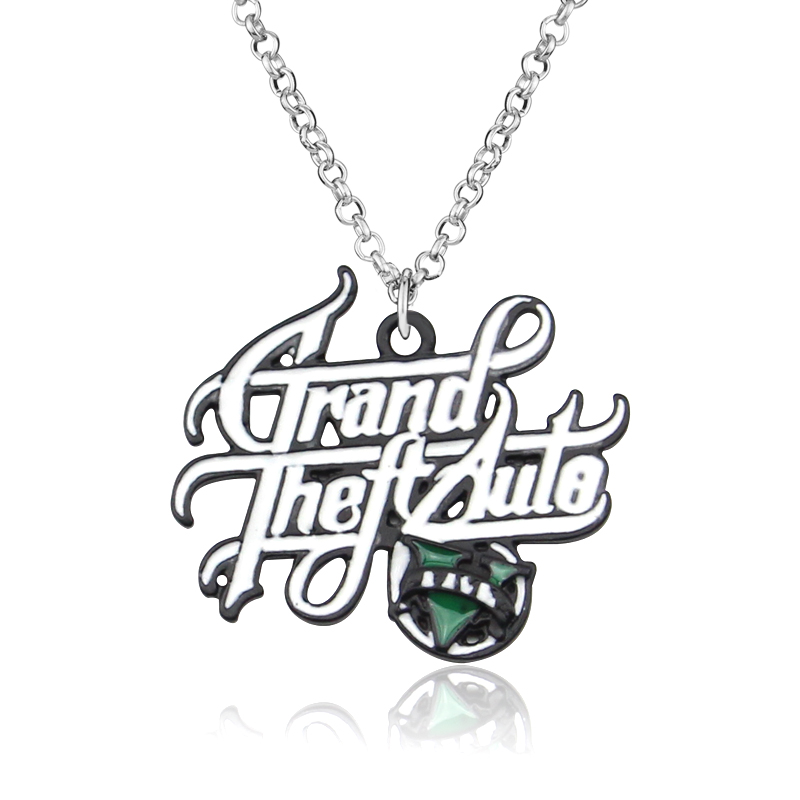 10PC Classic Game GTA Necklace Grand Theft Auto Pendant Necklace For Men Fans V Logo Necklace Statement Pendant Chain