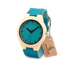 Regalo del Día de padres De Bambú De Madera Banda de Reloj Para Hombre de Lujo Superior de Cuarzo Reloj con Banda de Cuero Azul en Caja de Regalo