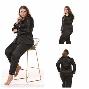 Image 5 - JULYS SONG Large Size Ladies Silk Pajamas Set Long Sleeved Cardigan Loose Two Piece Female Nightwear Womens Sleepwear