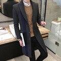 Men Slim Plus Size Wool Blend Peacoat Autumn Woolen Winter Warm Jacket Cashmere Cotton Down Coat Classic Black Long Overcoat XXL