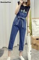 2019 new button deep blue jeans jumpsuits denim suspenders overalls women long skirt jumpsuit female