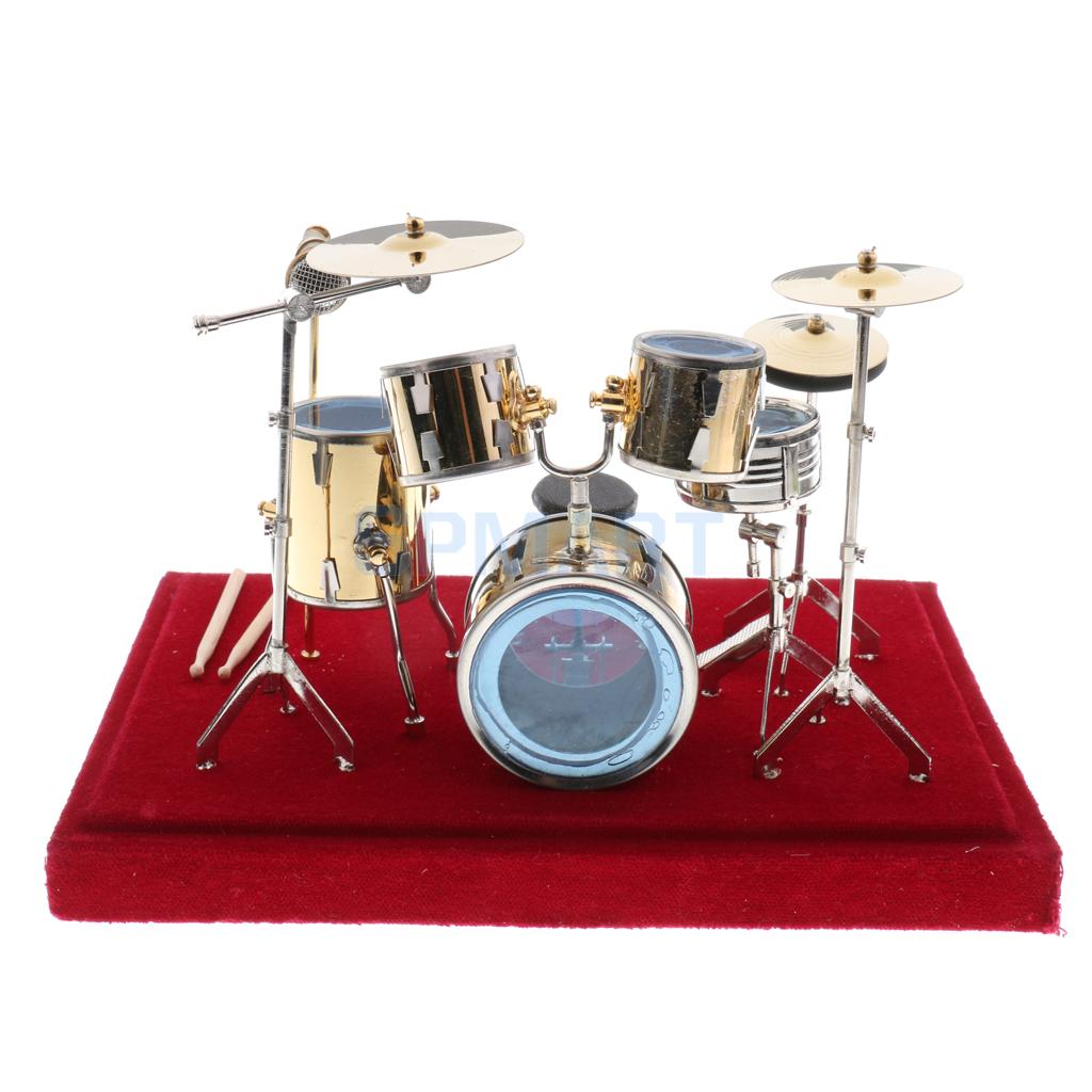 1//12 Dollhouse Miniature Drum Set Musical Instruments with Display Case