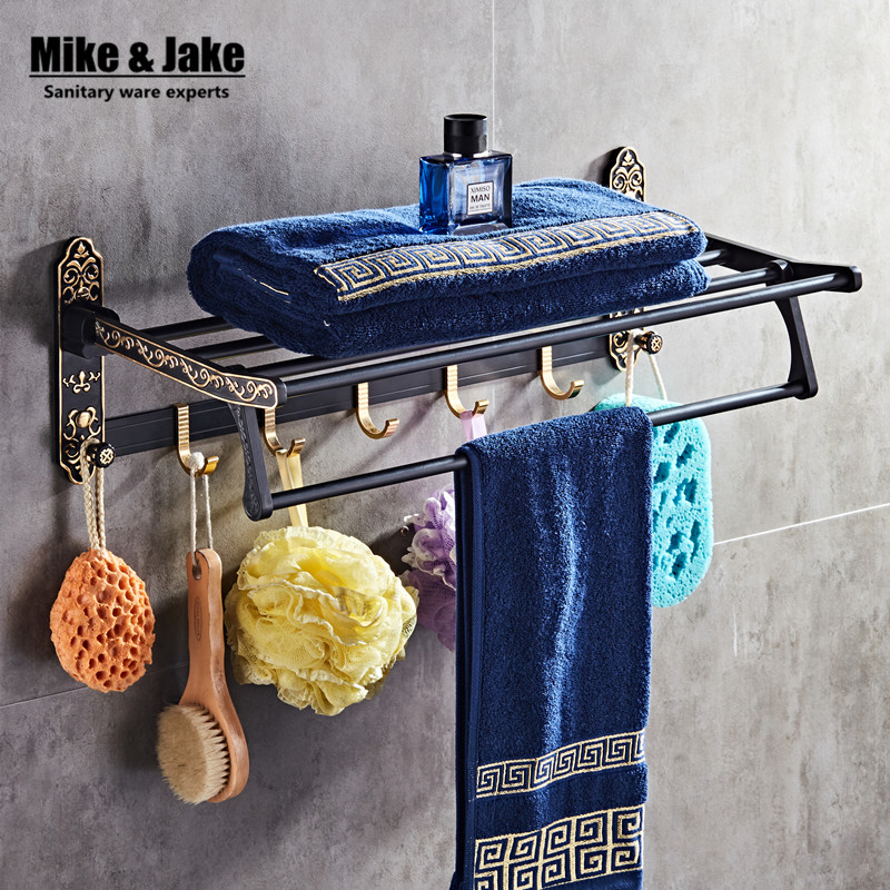 Whole aluminum fold white gold bath towel rack Active bath towel rack bathroom towel holder Antique Double towel shelf MH8503A aluminum foldable antique brass bath towel rack active bathroom towel holder double towel shelf with hooks bathroom accessories