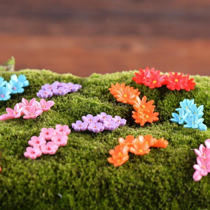 2Pcs Miniature Garden Cute Moss Flower Fairy Garden Micro Landscape Resin Decor Craft Home Fairy Garden Supplies