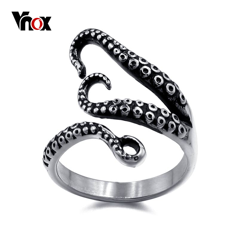 Vnox Vintage Octopus Tentacle Sea Monster Ring for Men Stylish Punk Stainless Steel Size 9 10 11 12 цена 2017