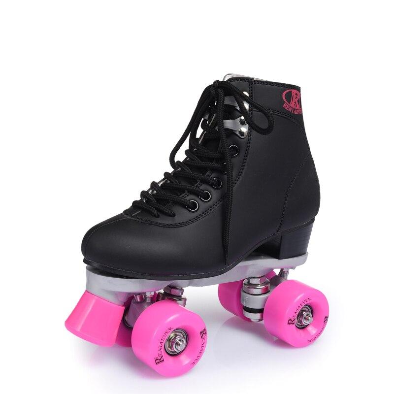 RENIAEVER double patins, 4 chaussure de patinage, roues rose noir chaussures, livraison gratuite - 5