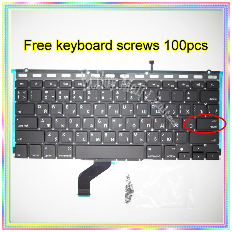 Brand New For MacBook Pro Retina 13.3 A1425 Small Enter RS Russian keyboard+Backlight Backlit+100pcs keyboard screws 2012 Year brand new for macbook air 11 6 a1370 a1465 small enter rs russian keyboard 100pcs keyboard screws 2010 2015 years