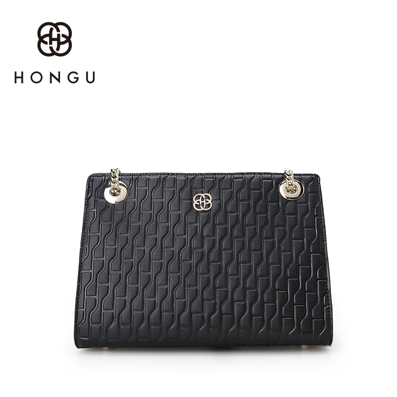Hongu Genuine Leather luxury Handbags Women Bag Designer Gold Plated Chain Messenger Bag Famous Brand Lady Shoulder OL Louis Bag luxury handbags women chain messenger bag lipstick lock designer woman black