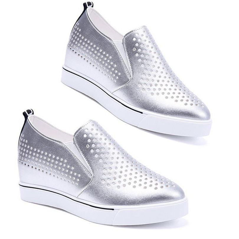 LIN KING Breathable Summer Women Casual Shoes Height Increasing Sneakers Slip On Lazy Wedges Shoes Outdoor Thick Sole Loafers in Women 39 s Vulcanize Shoes from Shoes