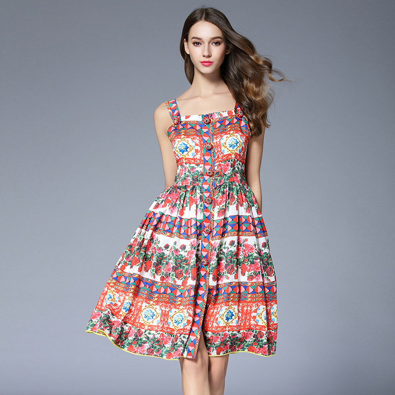 2017 Rose Printed Boho Dress Summer New Women Spaghetti Strap Sicilian style Crystal Button Knee Length Dress