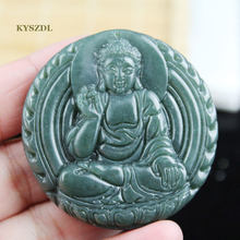 KYSZDL 100% Natural Hetian QING YU carving Buddha pendant Buddhist Patron saint necklace pendant jewelry gifts free rope(China)