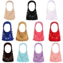 Children Muslim Small Girl Hijab With Lace Islamic Scarf Shawls Stretch Turban Cotton Blend