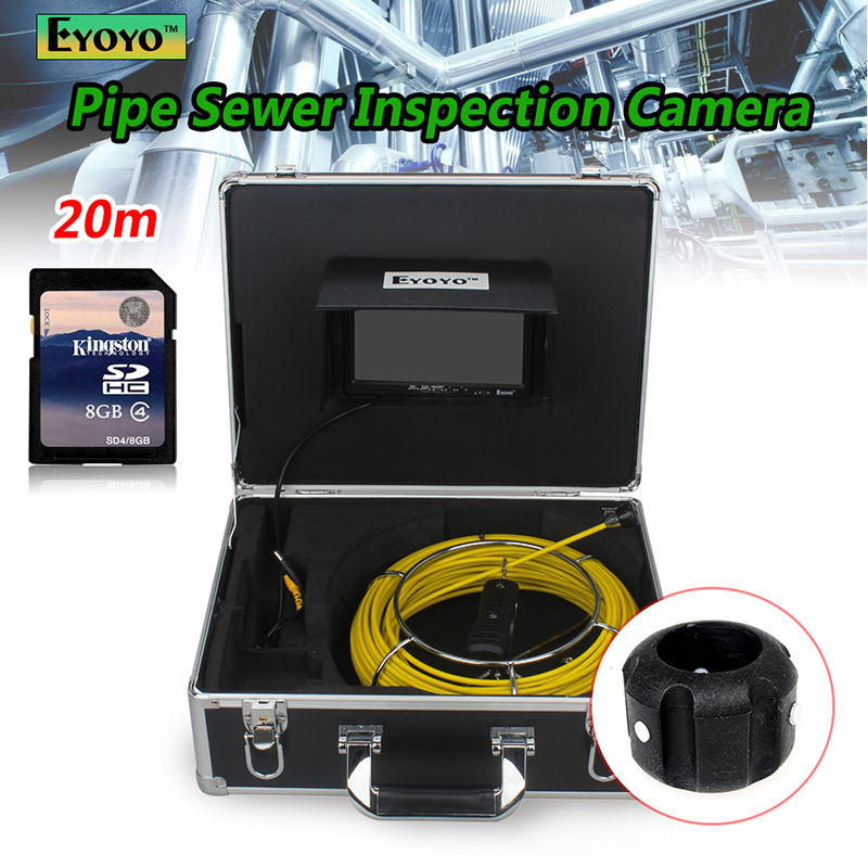 Free shipping 20M Sewer Waterproof Camera 7 LCD Drain Pipe Pipeline Inspection System with DVR