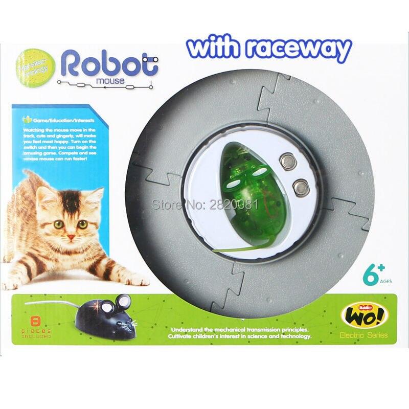 NOUVELLE électronique jouets réaliste Robot souris avec raceway faire vous surprise, la nanotechnologie souris modèle intérêt jeu pour chat chien