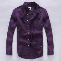 Italy brand linen shirt men quality fashion men shirts flax long sleeve casual men shirt exquisite workmanship purple chemise