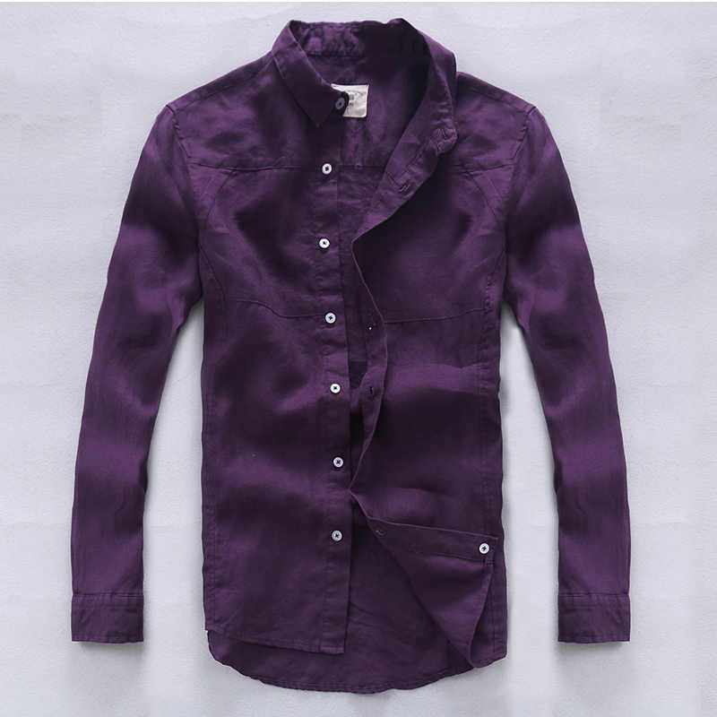 ead6577a47 Detail Feedback Questions about Italy brand linen shirt men quality fashion  men shirts flax long sleeve casual men shirt exquisite workmanship purple  ...