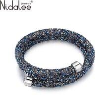 Crystaldust лебедя nidalee ювелирный свадьбы браслеты от полный кристалл бренд аксессуары