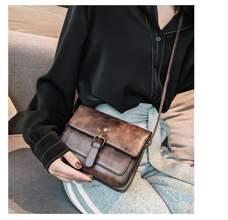 JIAMEN New Vintage Women Flap Fashion Casual Leather Shoulder Bags Lady Crossbody Messenger Bag Elegant Envelop Clutch Purse