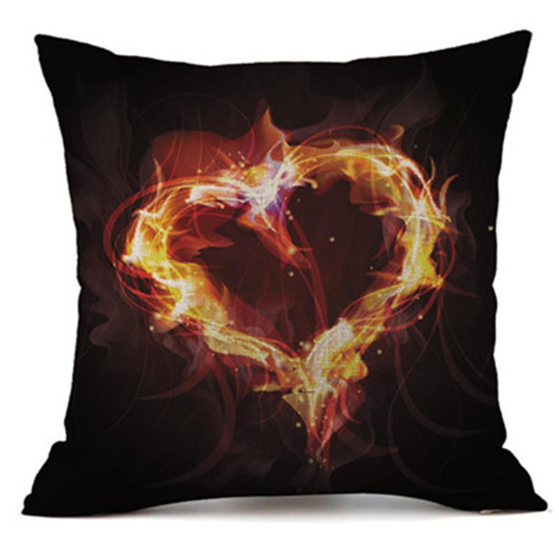 cushion cover valentines day gift 45cmx45cm Linen Red flame Love heart Printing pillow cover Sofa Car Wedding Home Decor 2018