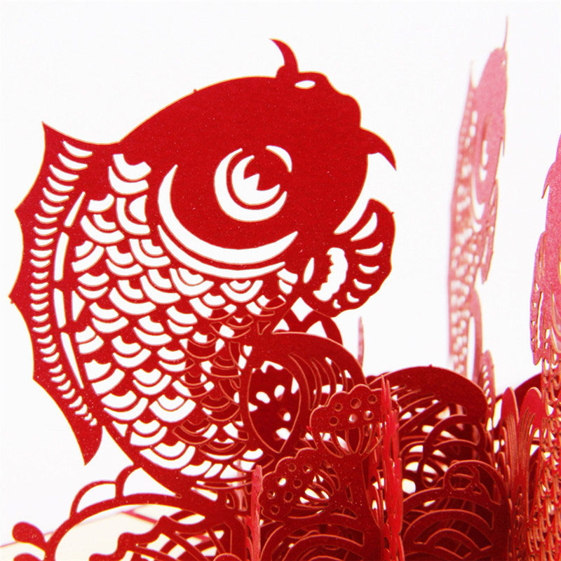 3d laser cut handmade chinese new year traditional lucky fish paper 3d laser cut handmade chinese new year traditional lucky fish paper invitation greeting card postcard business creative souvenir in cards invitations from reheart Image collections