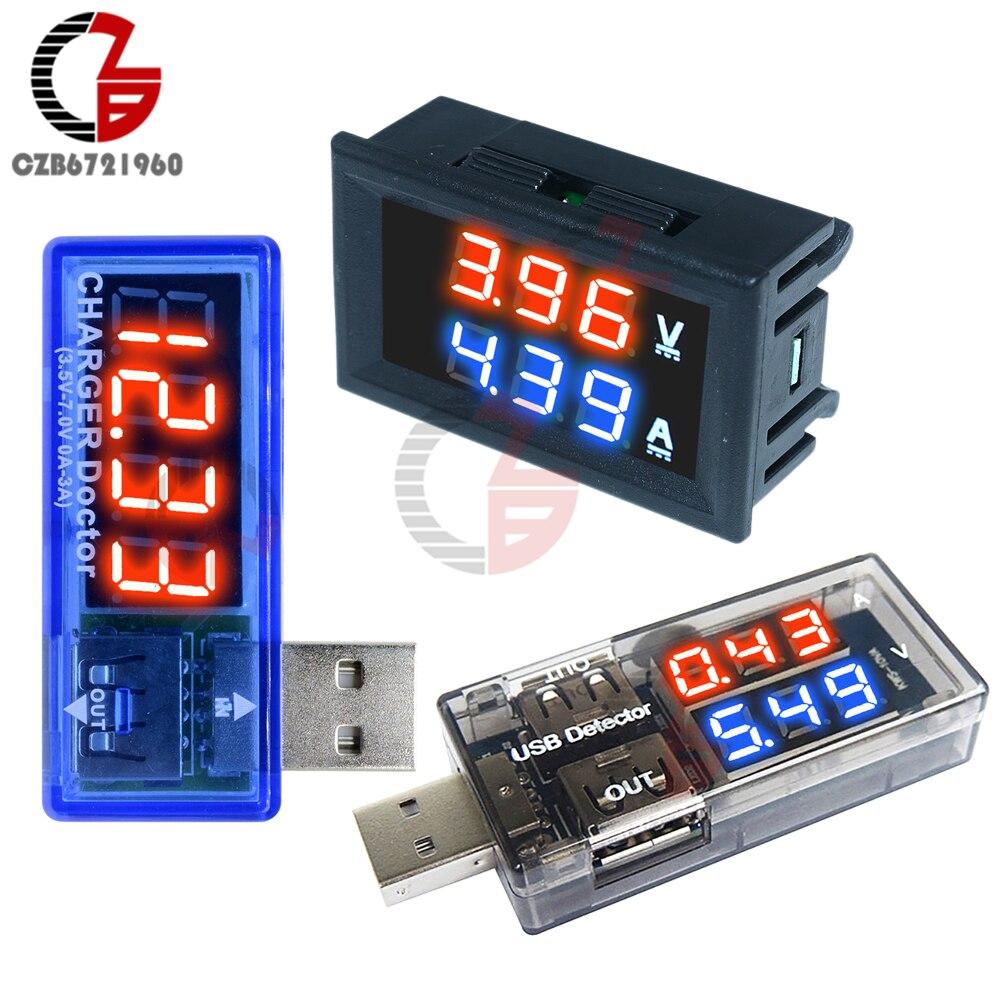 """0.56"""" LED Digital Voltmeter Ammeter DC 100V 10A Current Voltage Meter USB Charger Doctor Car Motorcycle Volt Amp Detector Tester"""