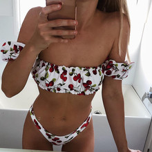 43c5928edd Cherry Print Off Shoulder Bikini 2019 High leg Cut Swimsuit Women Female  Brazilian Swimwear Two pieces