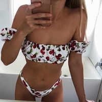 Impression cerise hors épaule Bikini 2019 haut jambe coupe maillot de bain femmes femme maillot de bain brésilien deux pièces Bikini ensemble maillot de bain