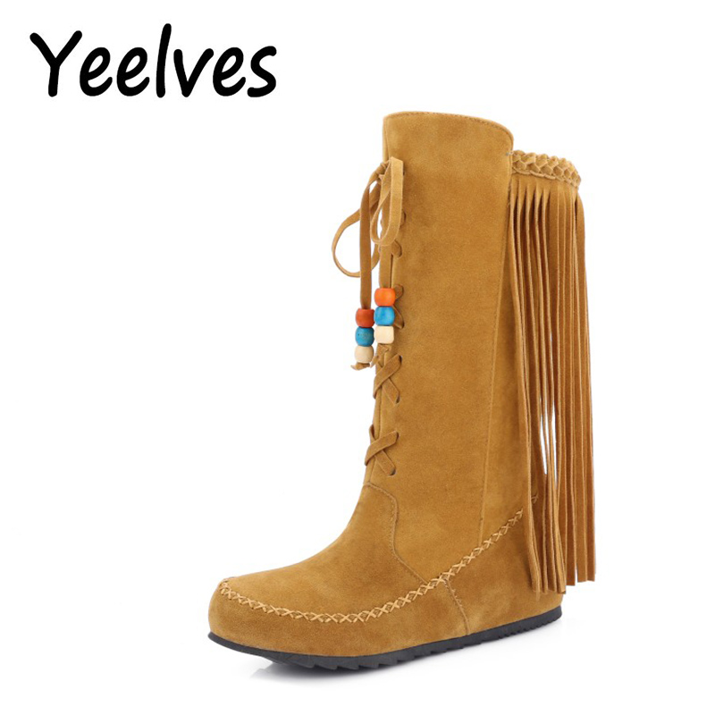 Yeelves Ethnic style Mid-Calf Boots Tassel String Bead Vintage Casual Shoes Brand Design ...