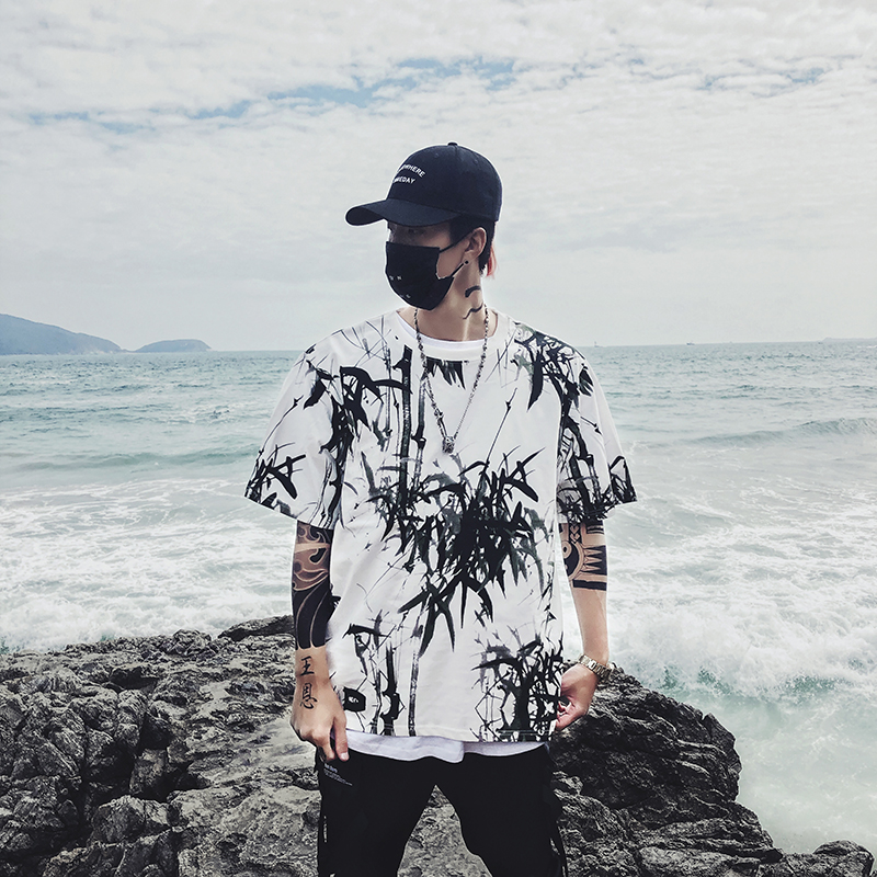 Dropshipping 2019 summer new bamboo splash ink Chinese painting short-sleeved shirt hip-hop oversized couple men women T-shirt 20